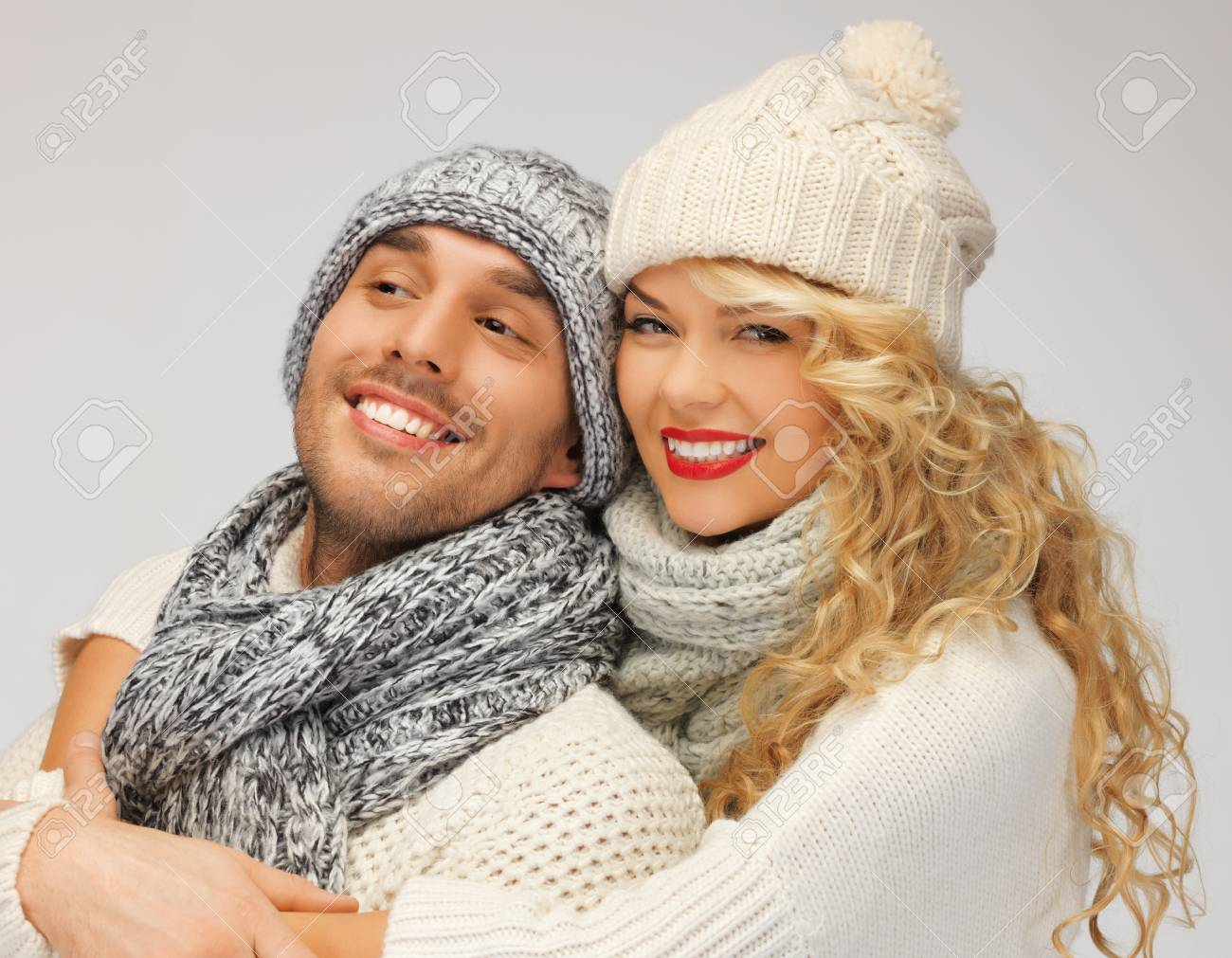 bright picture of family couple in a winter clothes Stock Photo - 16471857