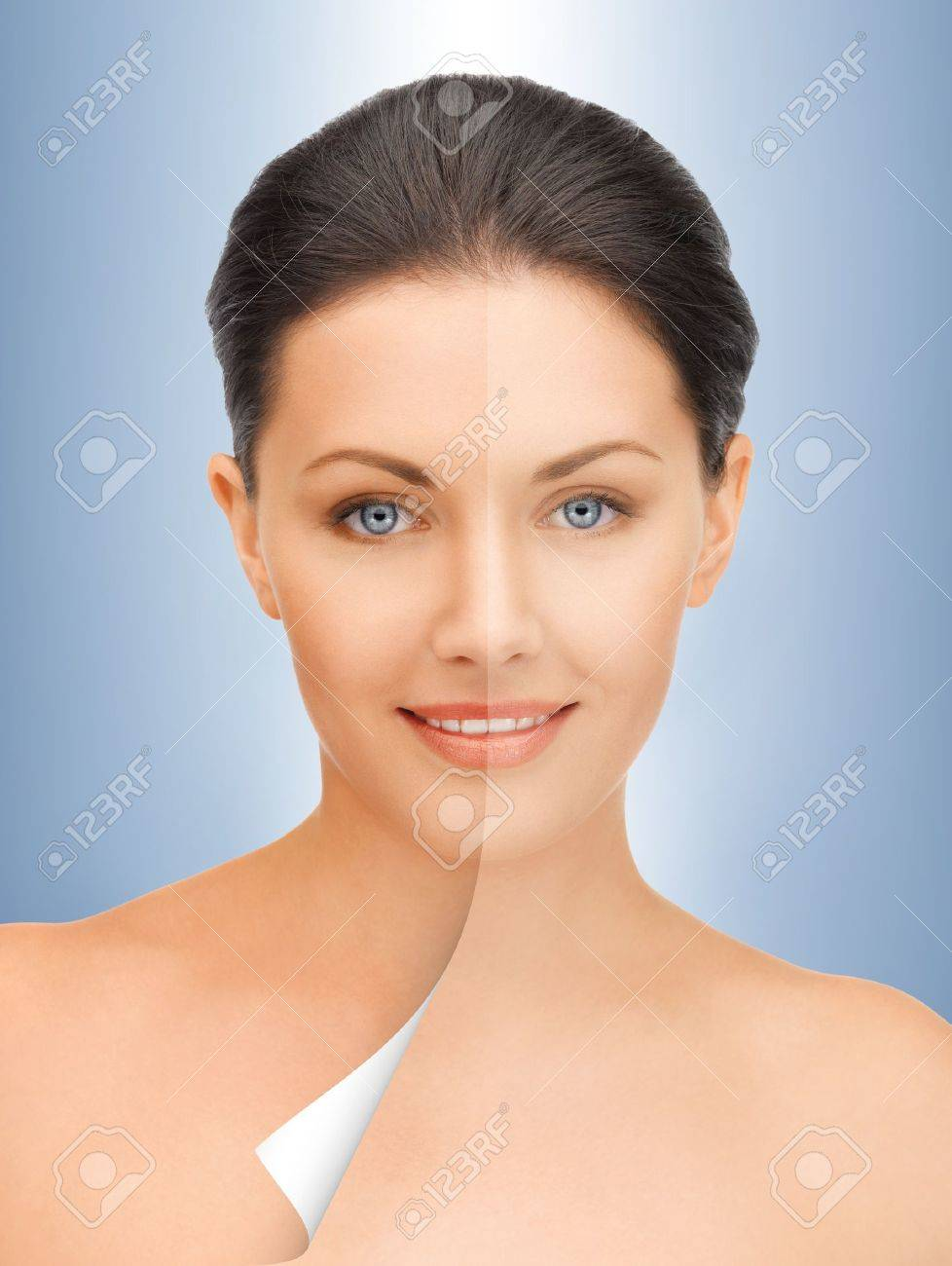 picture of beautiful woman with half face tanned Stock Photo - 16619258