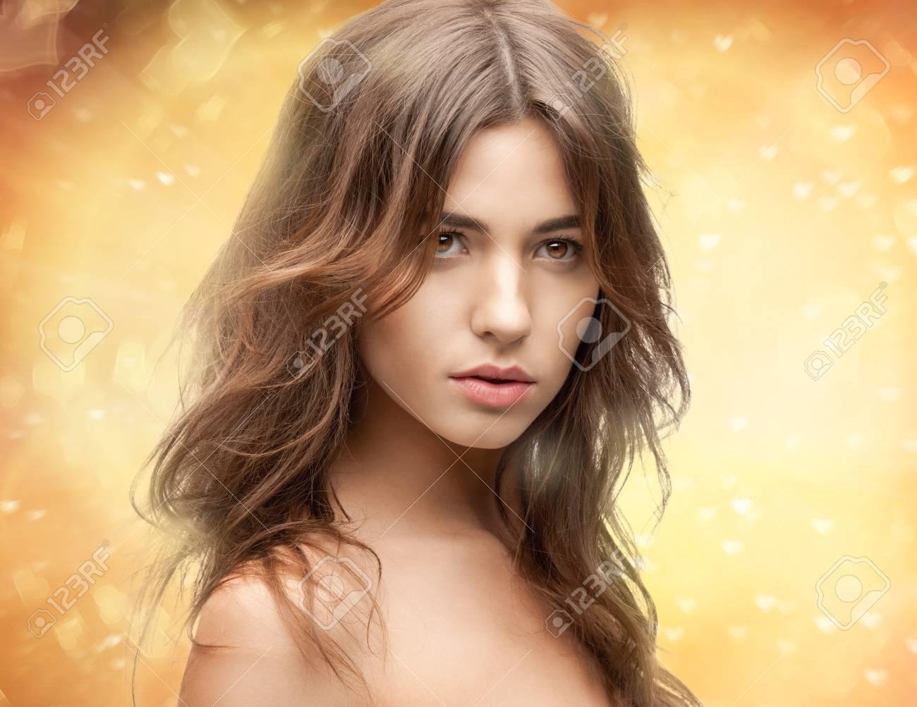 bright closeup portrait picture of beautiful woman Stock Photo - 16606089
