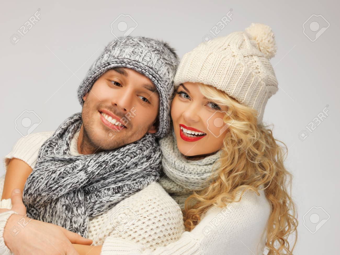 bright picture of family couple in a winter clothes Stock Photo - 16716529