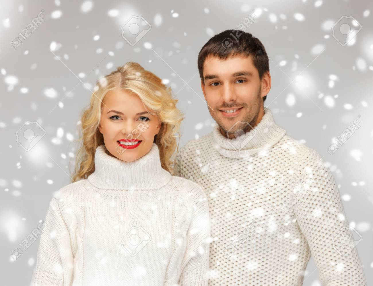 bright picture of family couple in a sweaters Stock Photo - 16880072
