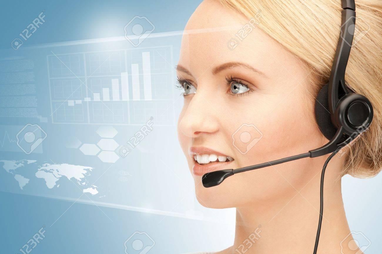 bright picture of friendly female helpline operator Stock Photo - 16922714