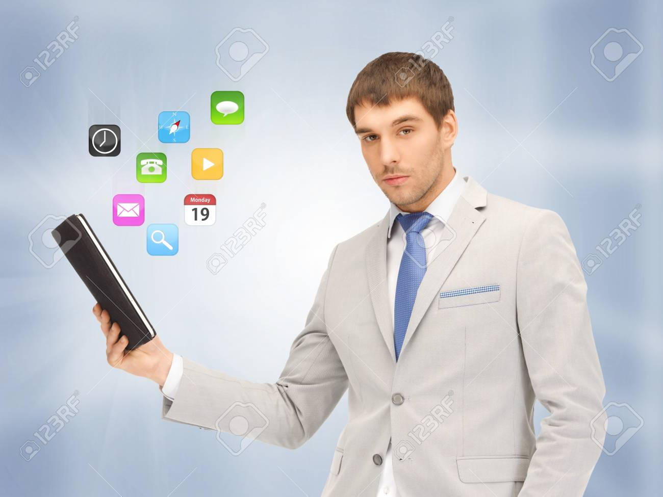 picture of calm man with tablet pc computer Stock Photo - 16960666