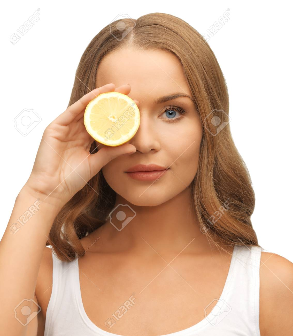 picture of beautiful woman with lemon slice Stock Photo - 17038979