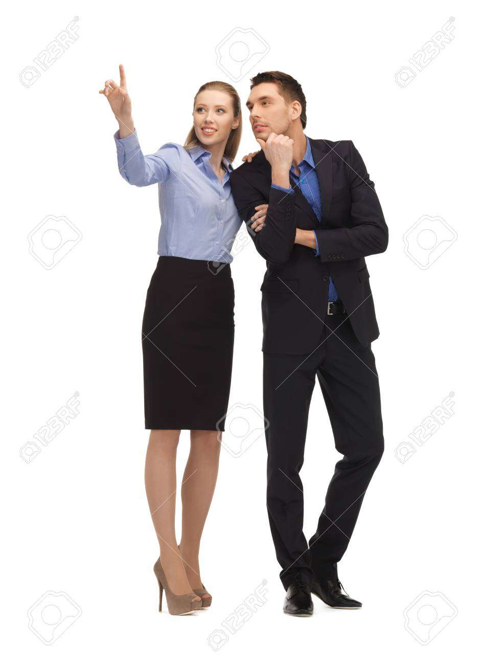 picture of man and woman working with something imaginary Stock Photo - 17038634