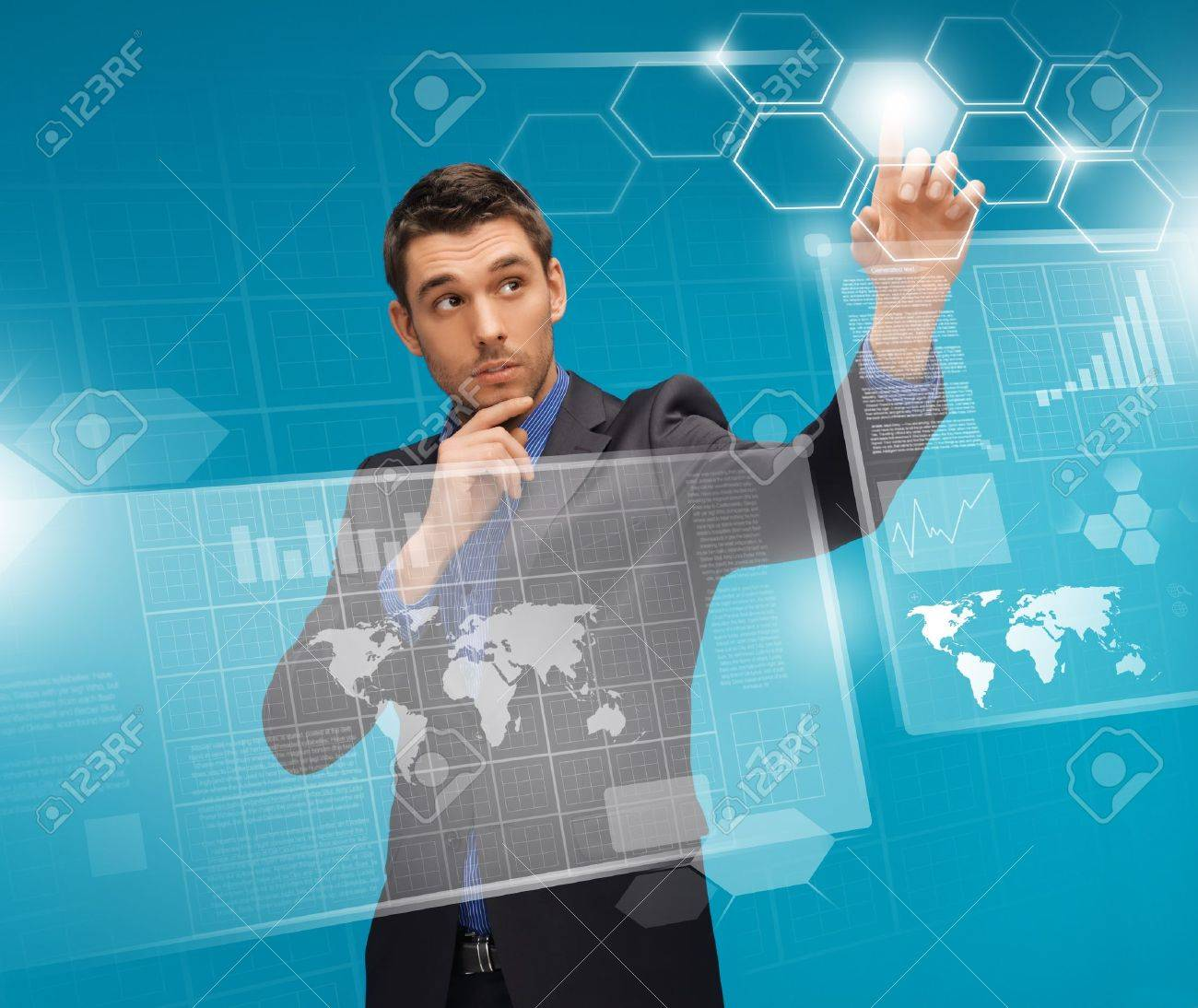picture of man in suit working with virtual screens Stock Photo - 17038950