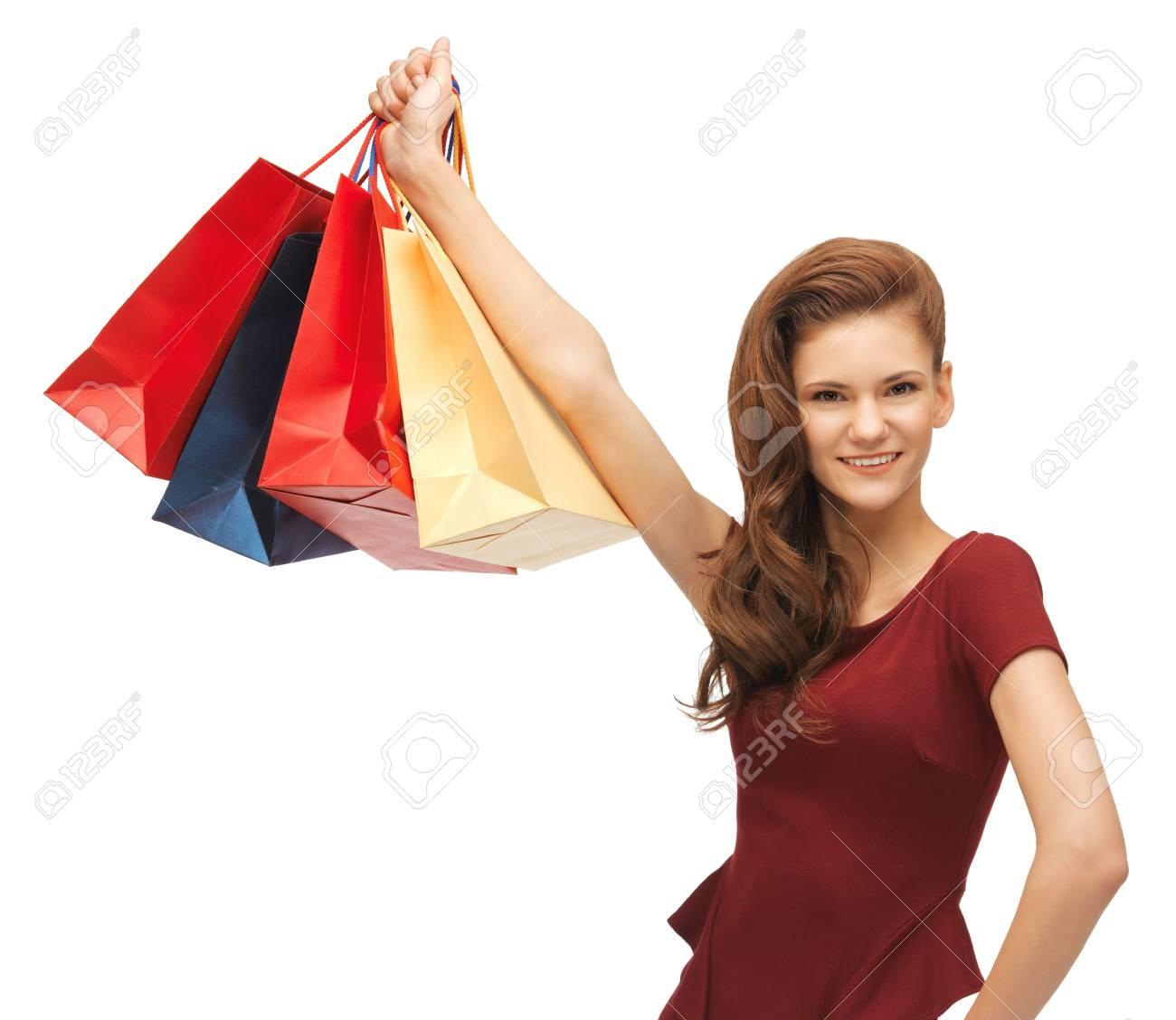 picture of happy teenage girl with shopping bags Stock Photo - 17342991