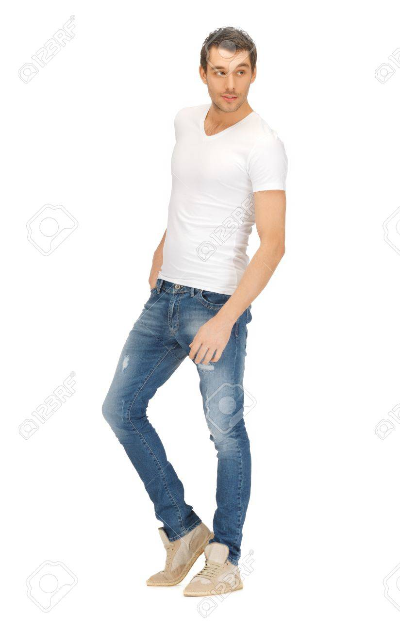 bright picture of handsome man in white shirt Stock Photo - 17370293
