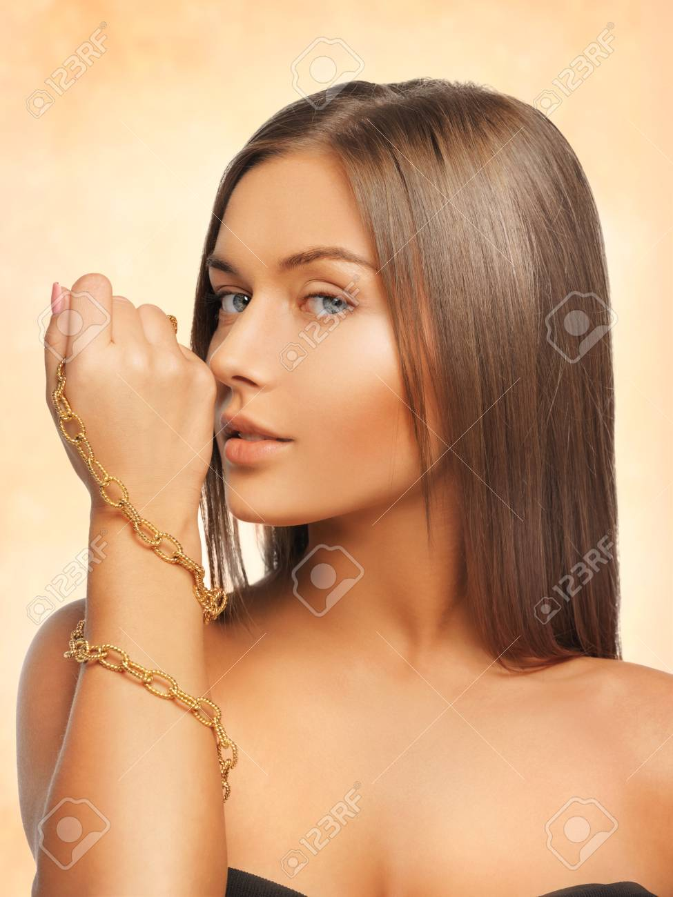 bright picture of beautiful woman with necklace Stock Photo - 17480115