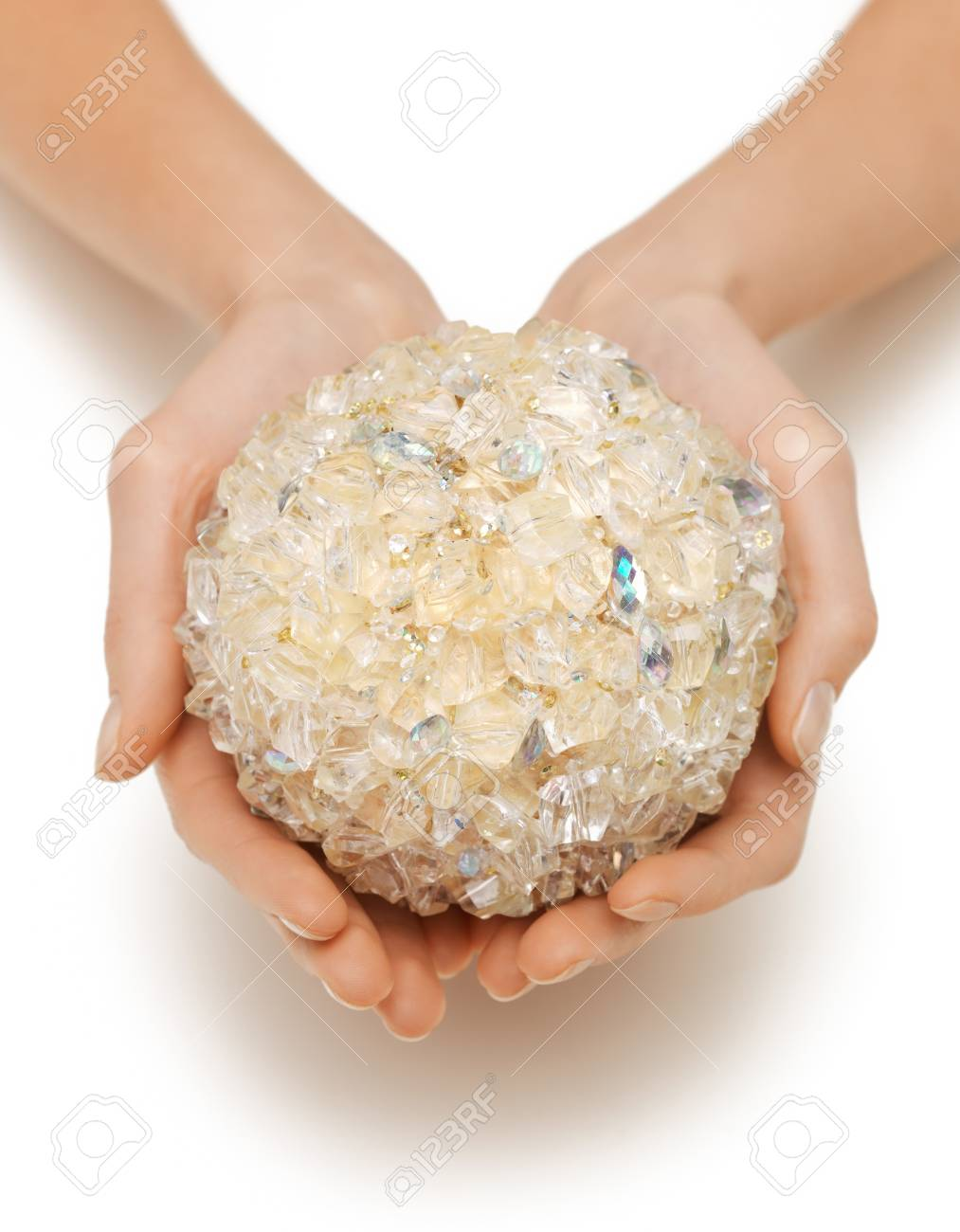 closeup picture of woman hands holding bath ball Stock Photo - 17479978