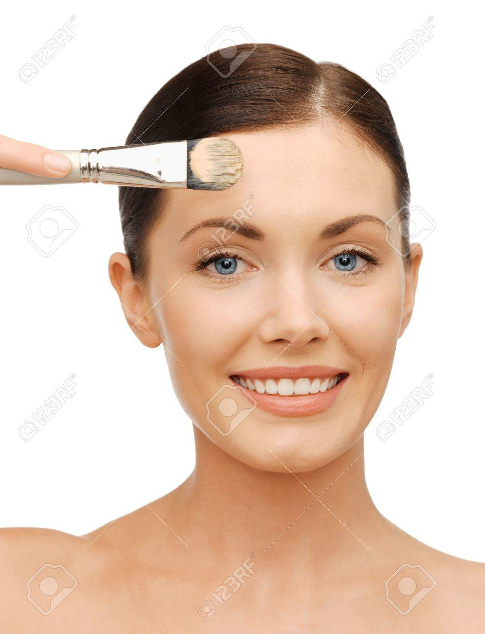 bright closeup portrait picture of beautiful woman with brush. Stock Photo - 17479961
