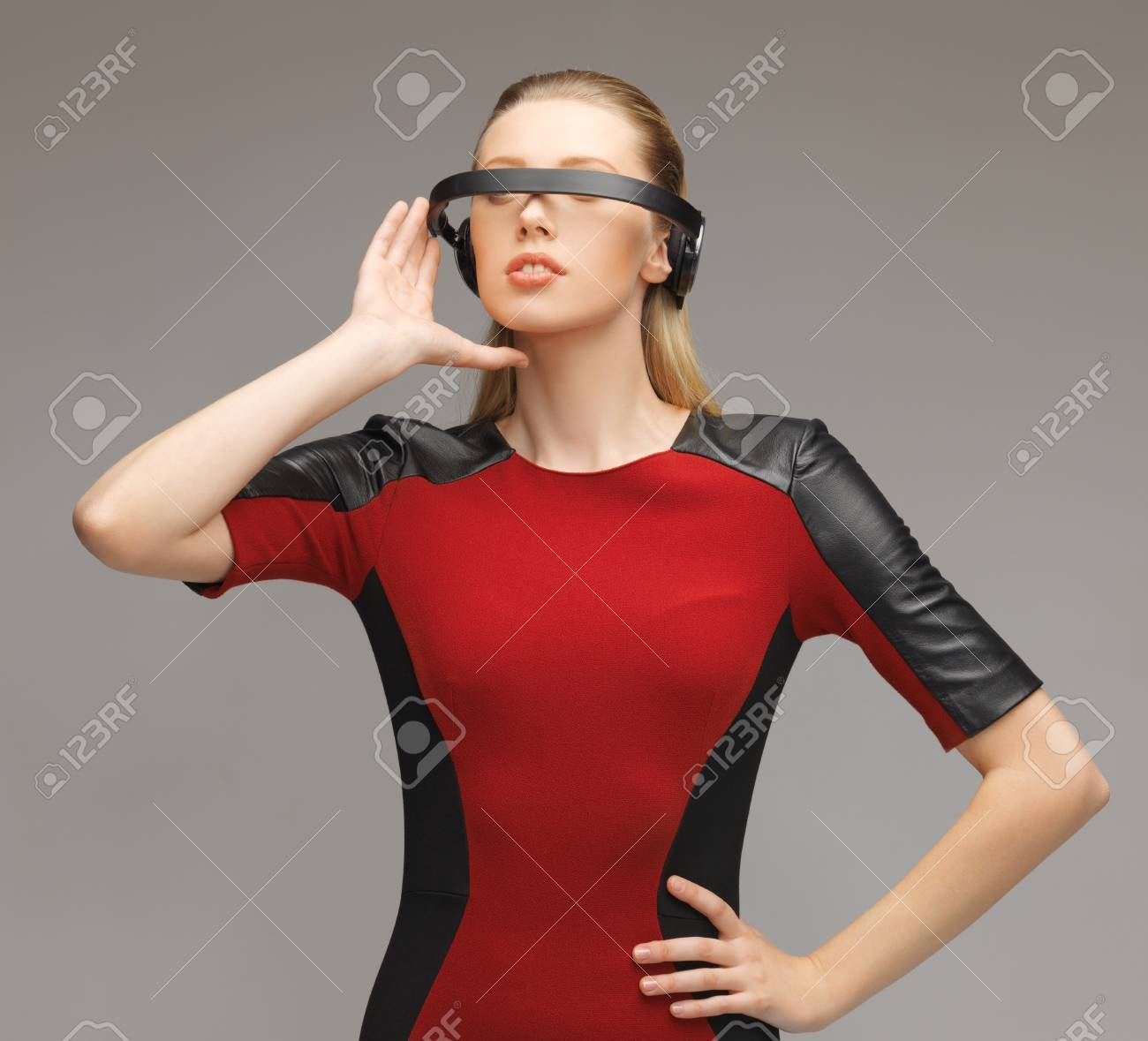 picture of beautiful woman with futuristic glasses Stock Photo - 17480106