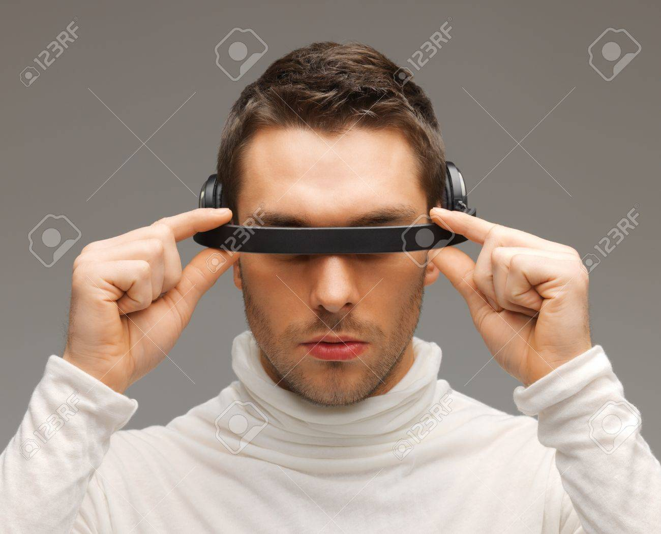 picture of handsome man with futuristic glasses. Stock Photo - 17480082