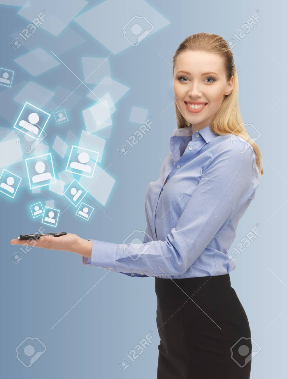 bright picture of woman with smartphone Stock Photo - 17540197