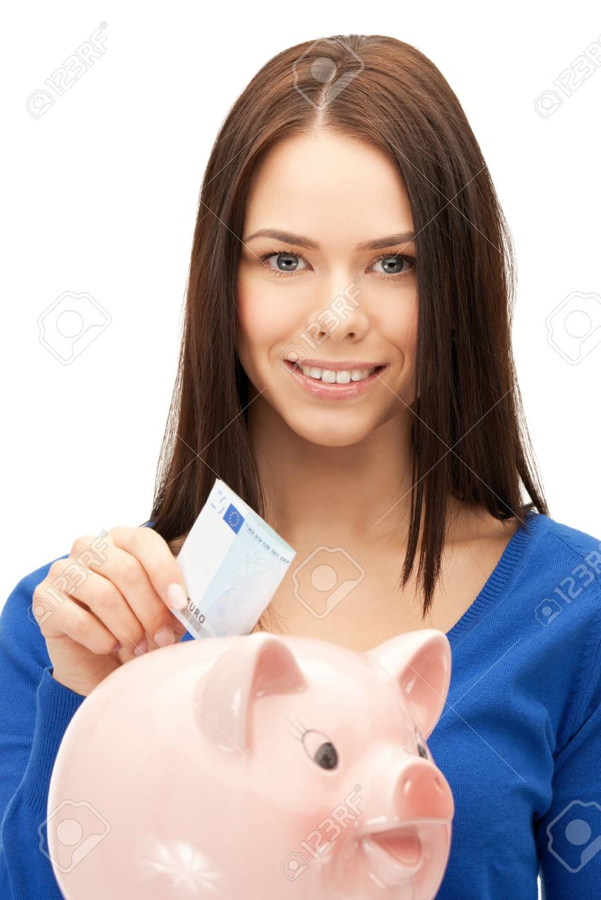 picture of lovely woman with piggy bank and money Stock Photo - 17540206