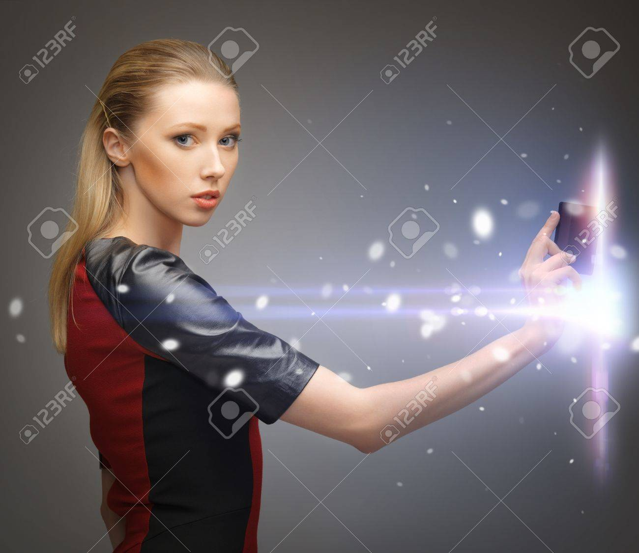 picture of futuristic woman with access card Stock Photo - 17602515