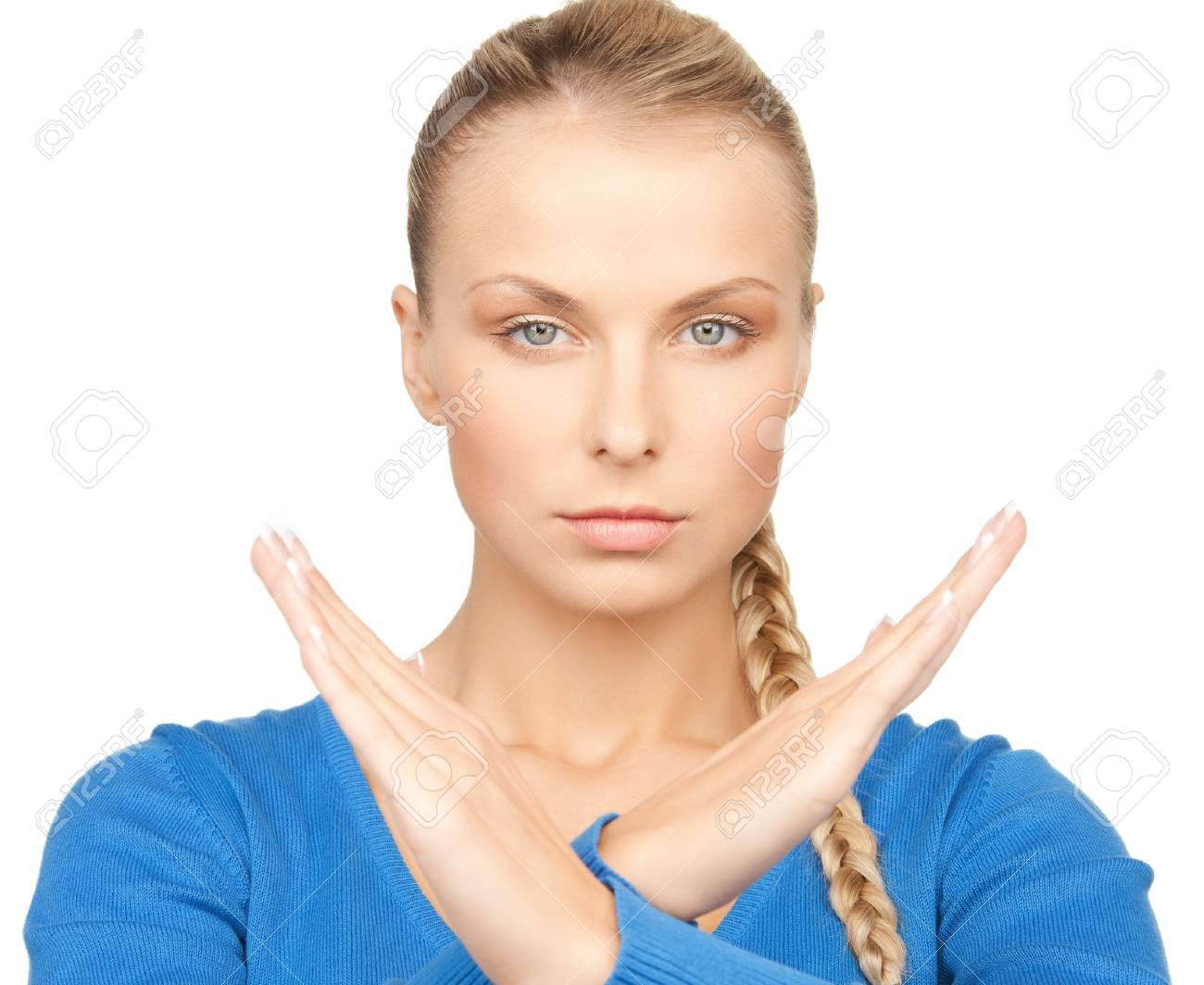 bright picture of young woman making stop gesture Stock Photo - 17861980