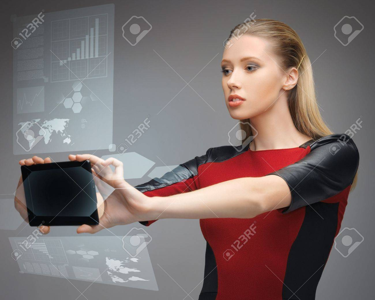 bright picture of futuristic woman with tablet pc Stock Photo - 18161087