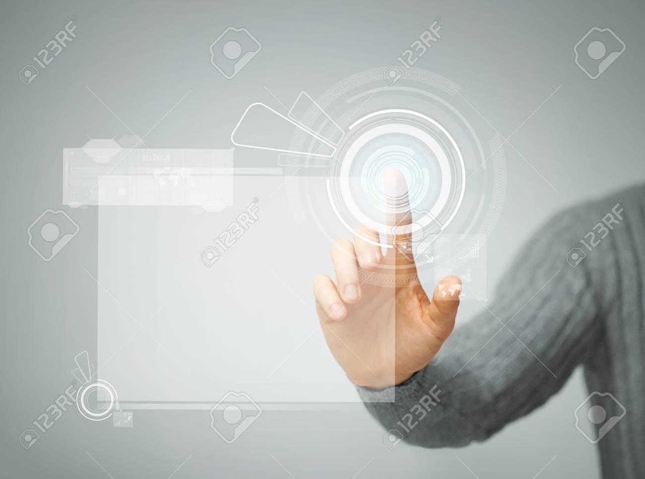 bright picture of man pressing virtual button Stock Photo - 18299816