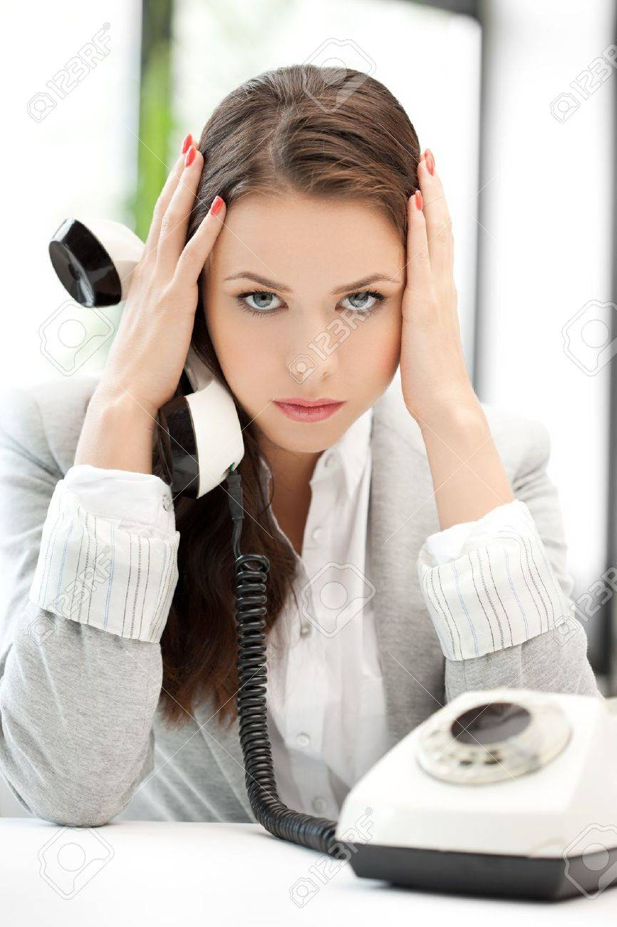 stressed and tired businesswoman with cell phone Stock Photo - 18299797