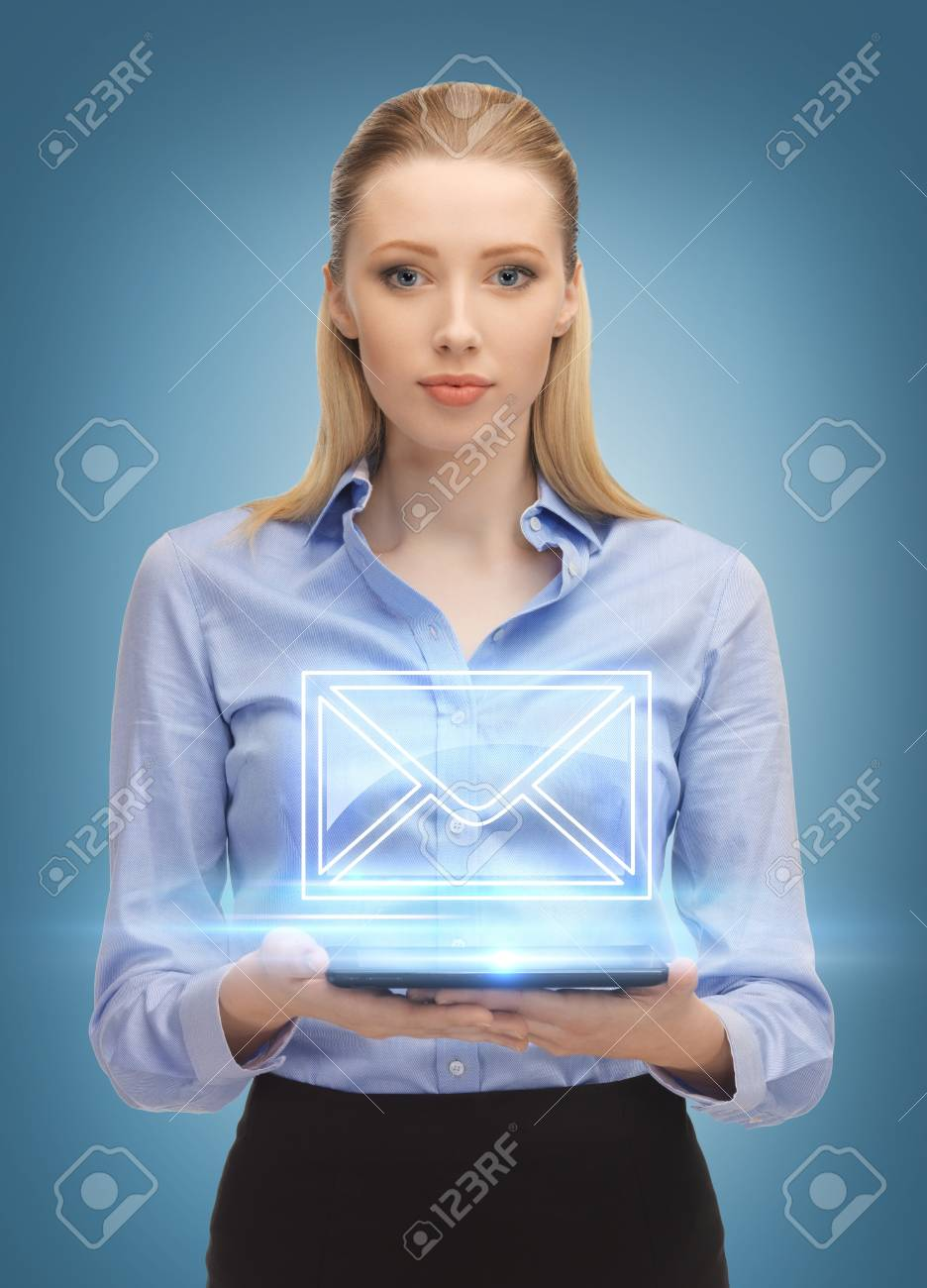 picture of beautiful woman with tablet pc sending e-mail Stock Photo - 18530757