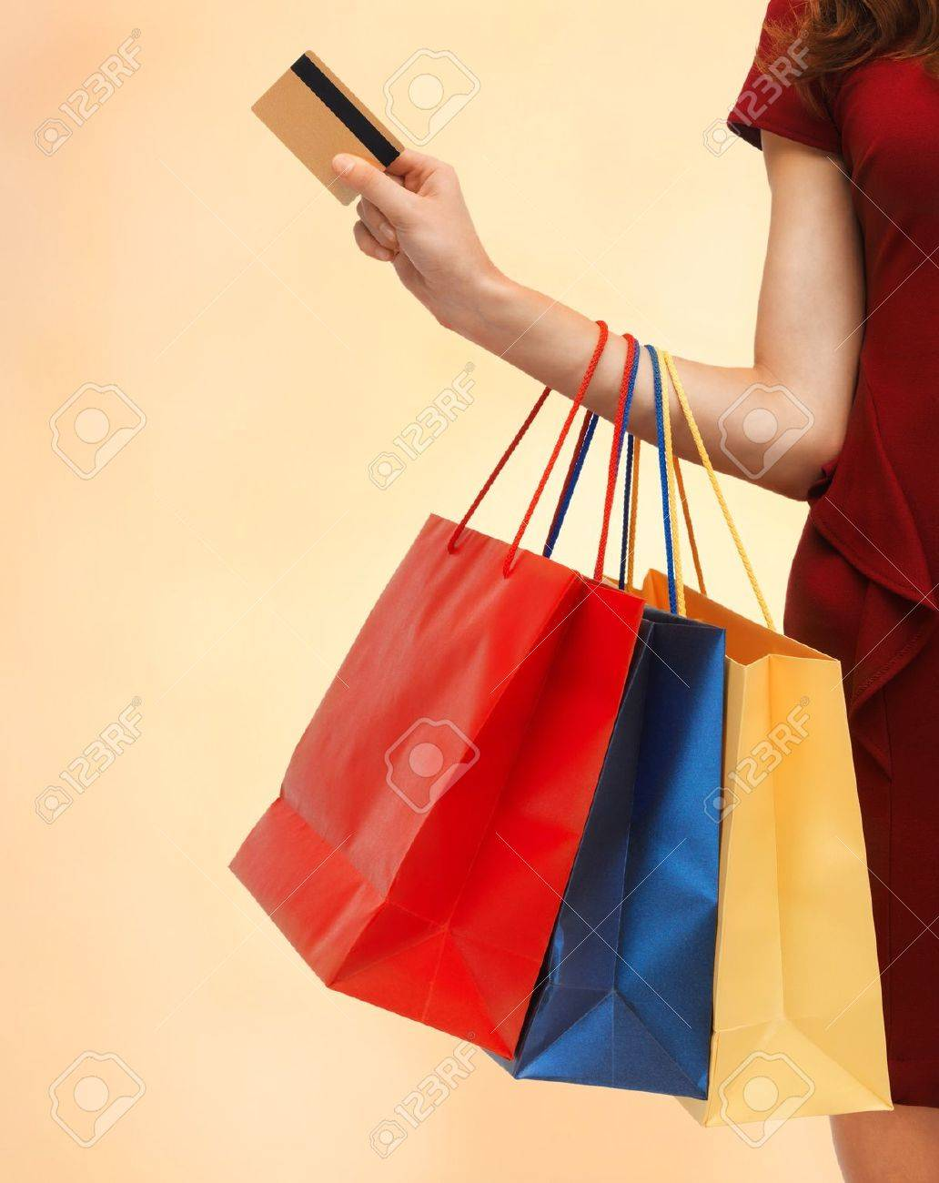 closeup or picture of woman with shopping bags Stock Photo - 18655096