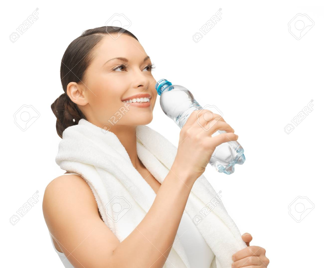 picture of sporty woman with bottle of water Stock Photo - 18822391