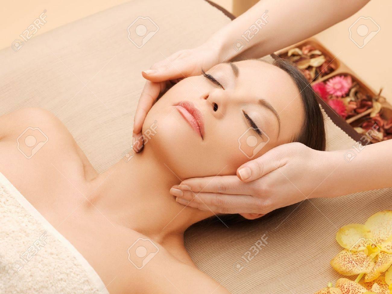 woman in spa salon lying on the massage desk Stock Photo - 18803837