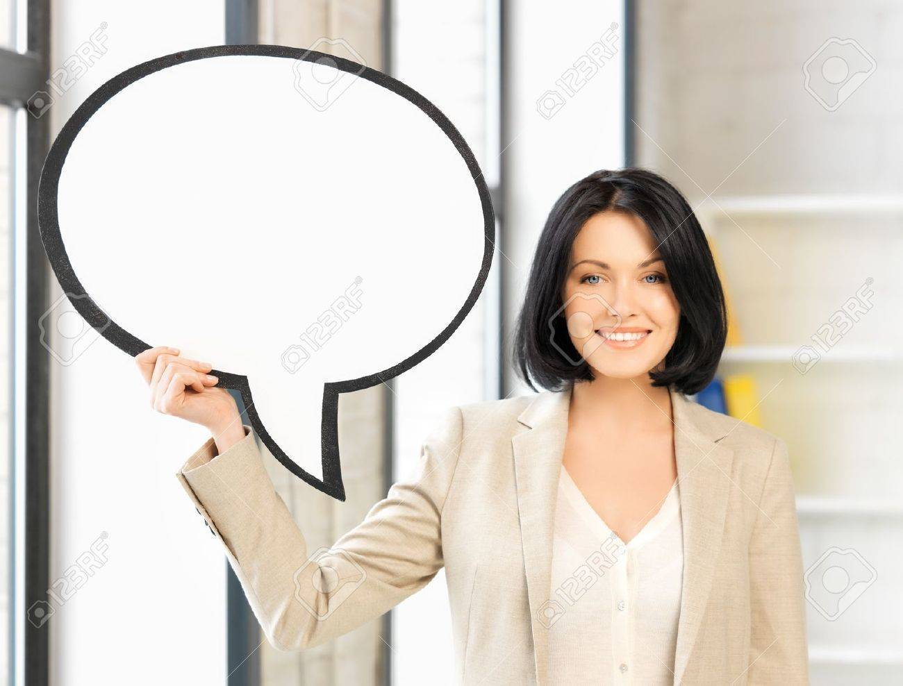 picture of smiling businesswoman with blank text bubble - 19001192