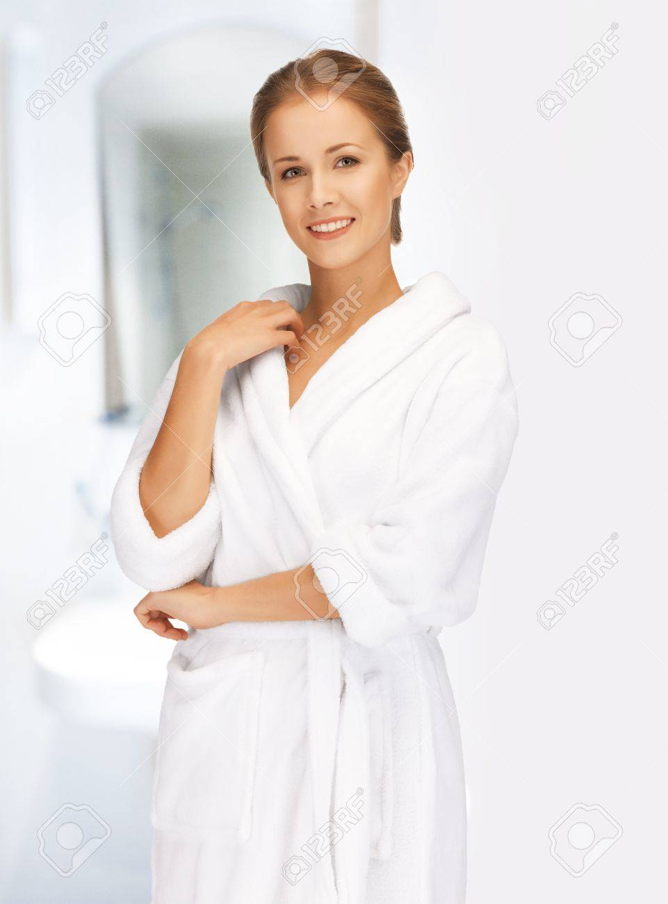 picture of beautiful woman in white bathrobe Stock Photo - 19207207