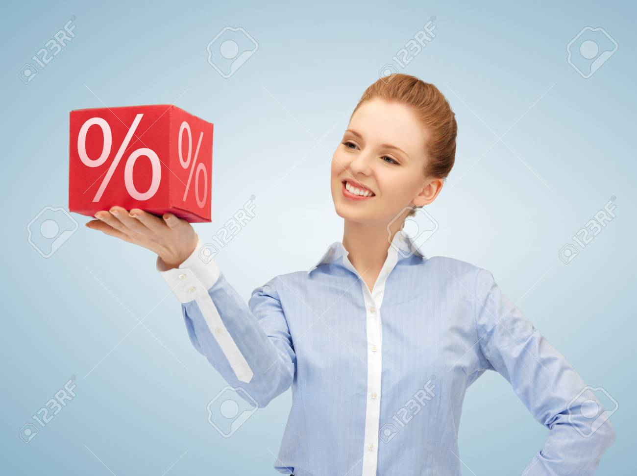 picture of beautiful woman with big percent box Stock Photo - 19347233