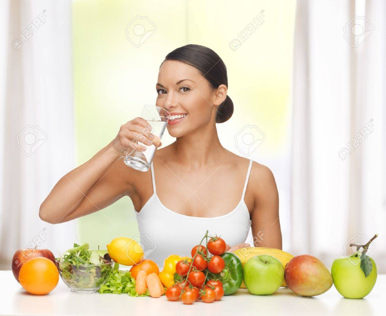 beautiful woman with healthy food and water - 19347040