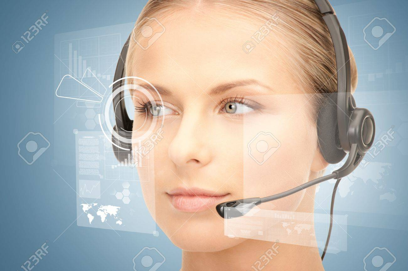 futuristic female helpline operator with headphones and virtual screen Stock Photo - 19412422