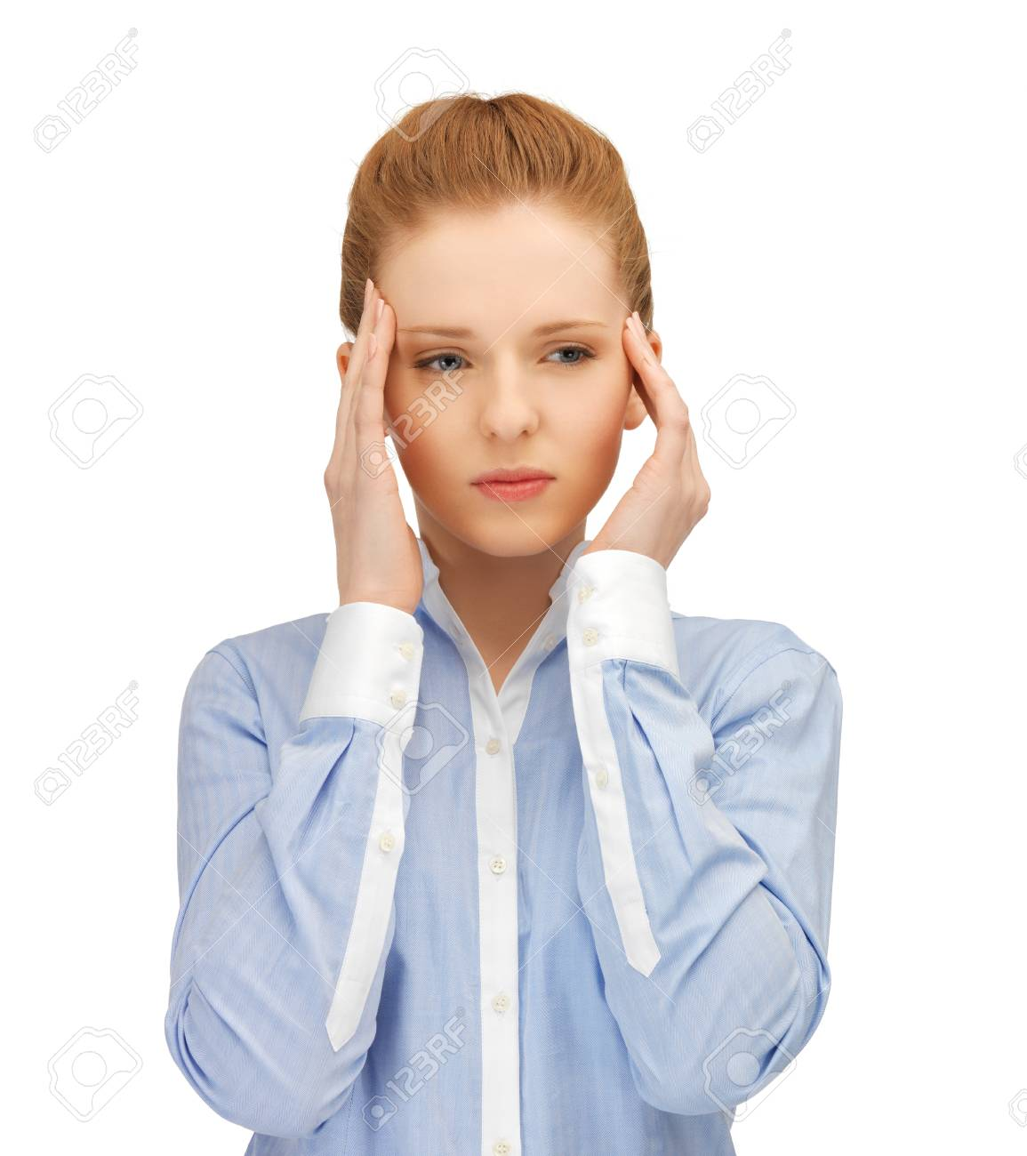 stressed woman holding her head with hands Stock Photo - 19611781