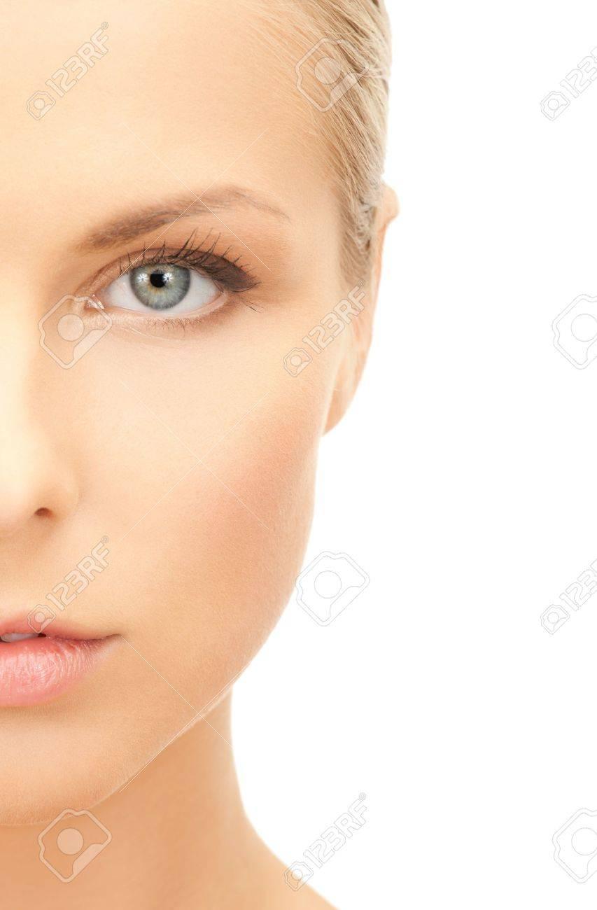 portrait of half face of beautiful woman - 19611642