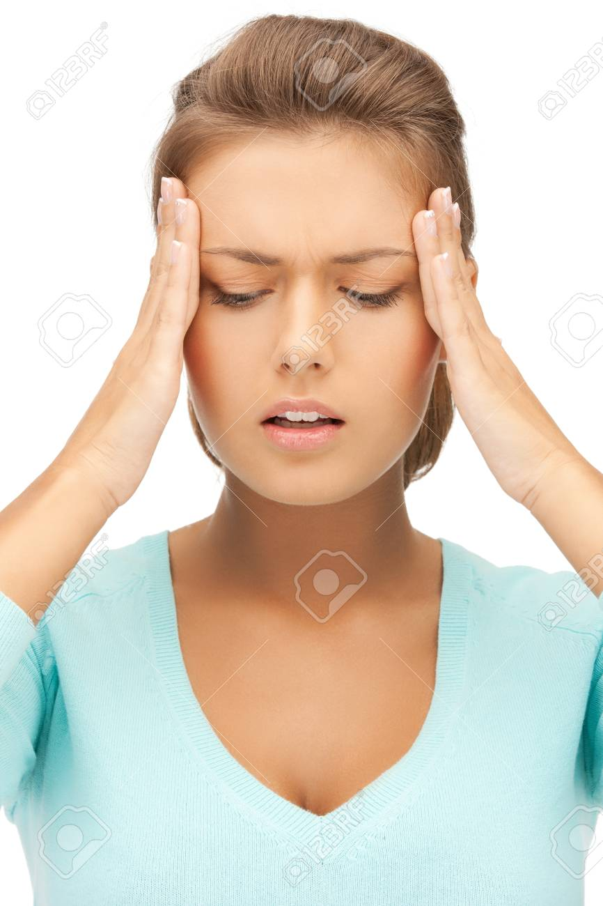 unhappy woman holding her head with hands Stock Photo - 19730361