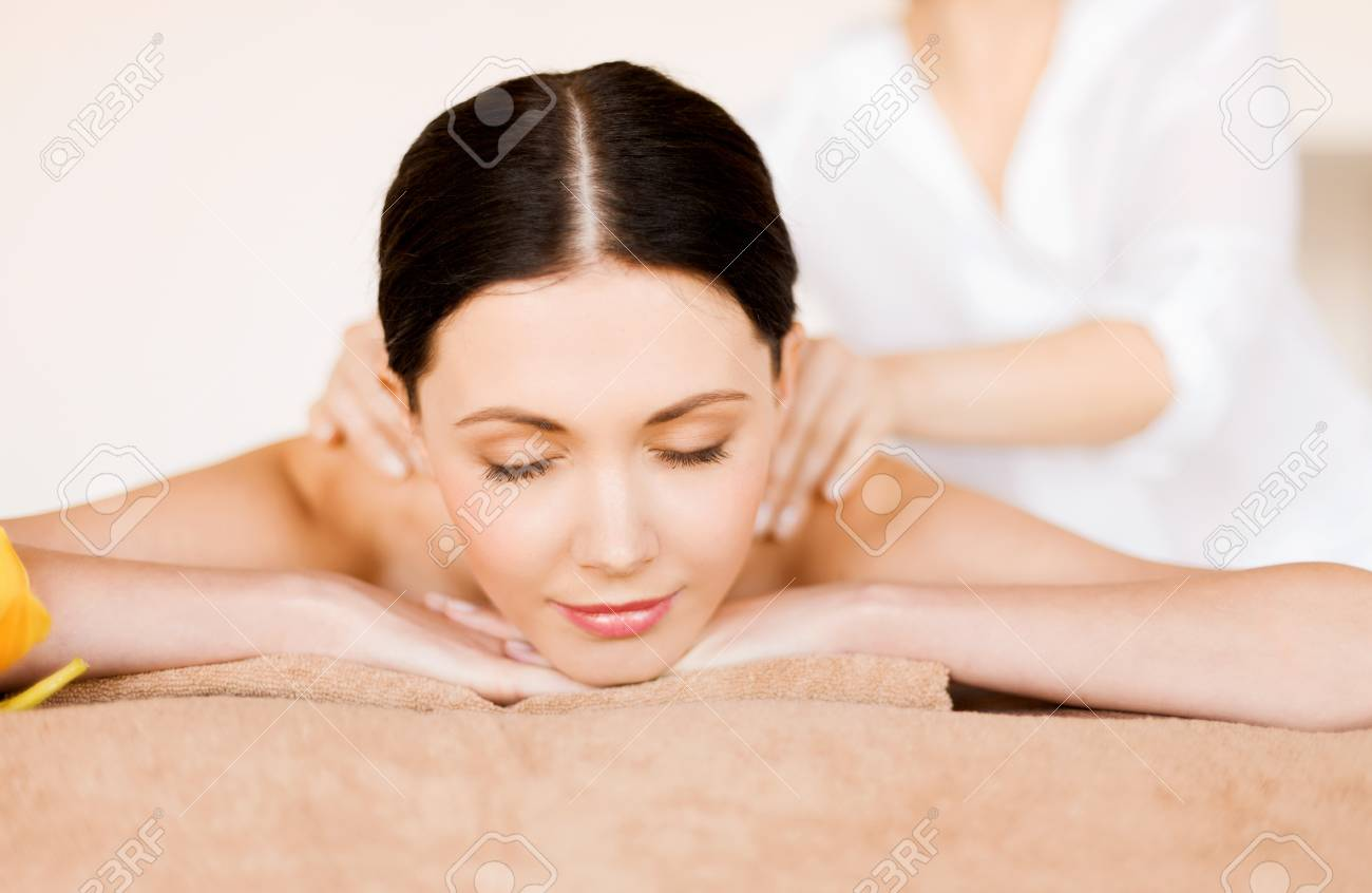 picture of woman in spa salon getting massage Stock Photo - 19802078