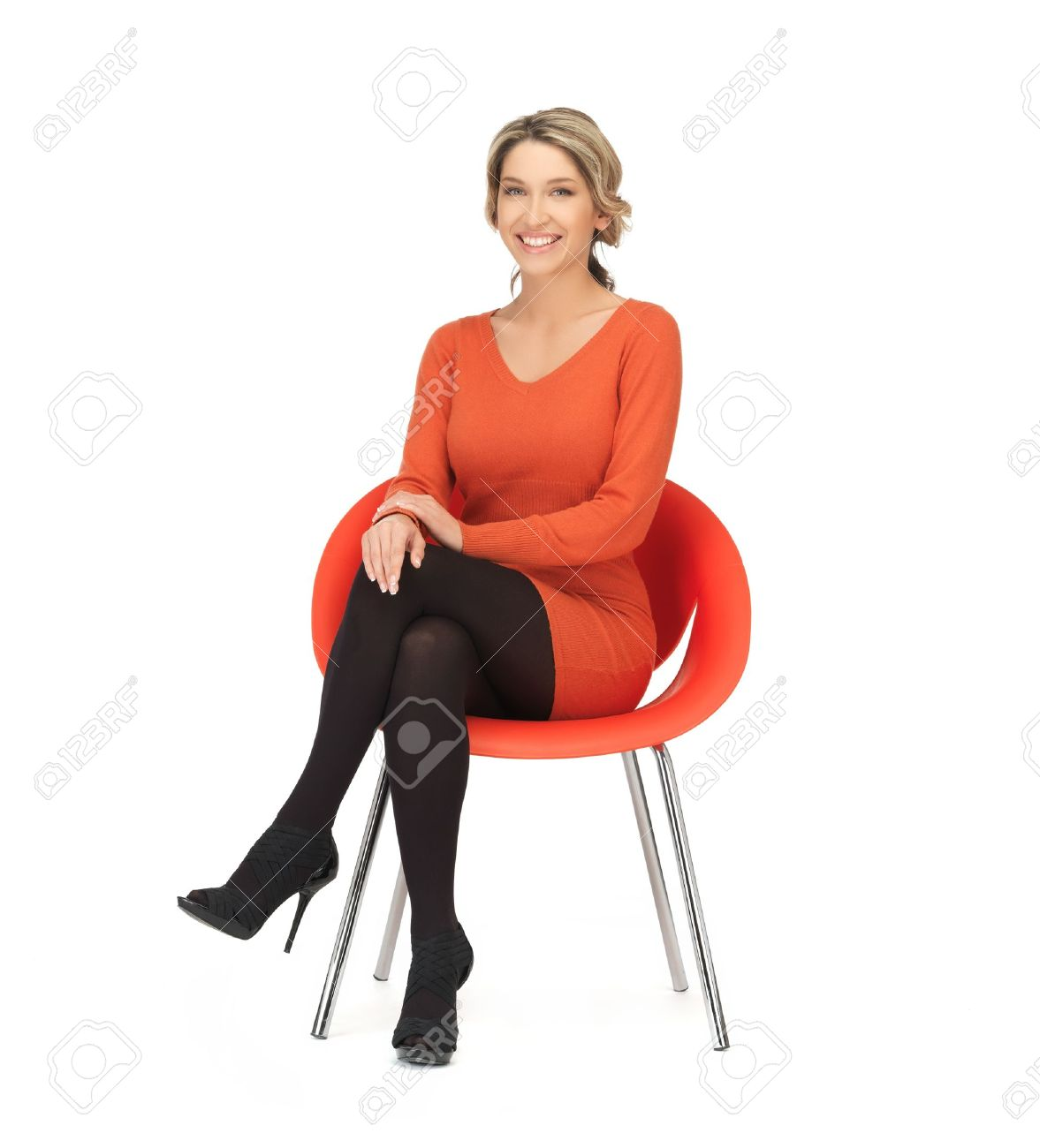 Stock Photo Nice Woman In Dress Sitting In Chair