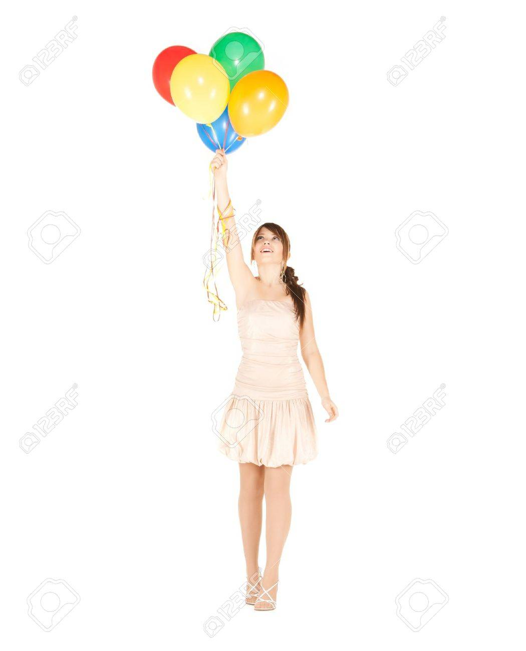 picture of happy girl with colorful balloons Stock Photo - 19857118