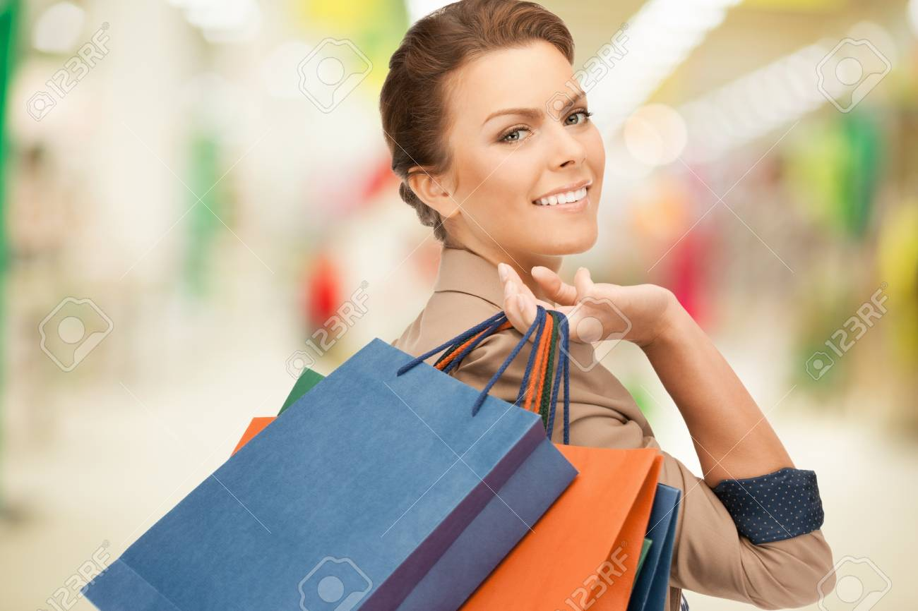 picture of lovely woman with shopping bags Stock Photo - 19989040
