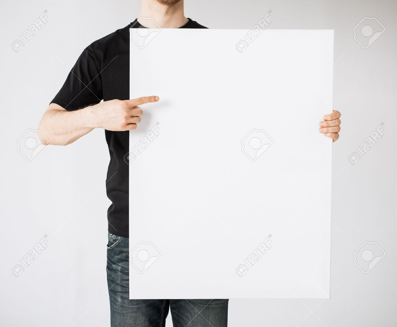 close up of man hands showing white blank board Stock Photo - 20019494