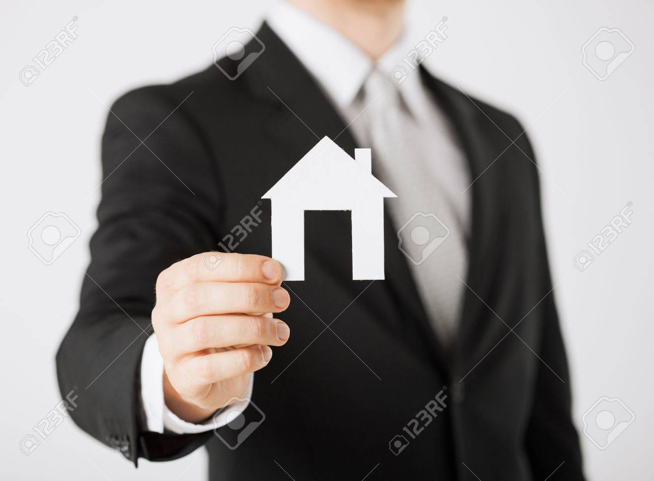 picture of man hand holding paper house Stock Photo - 20074866