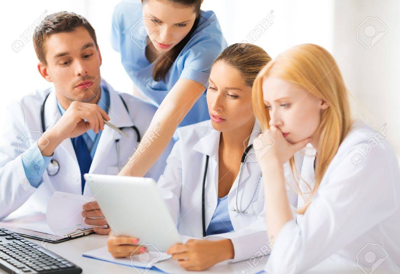 picture of young team or group of doctors working Stock Photo - 20362819