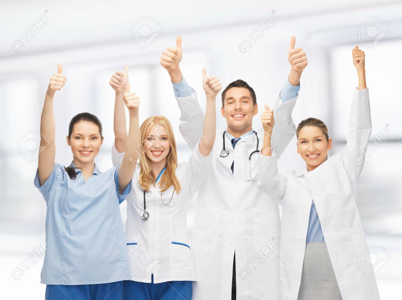 professional young team or group of doctors showing thumbs up Stock Photo - 20557300