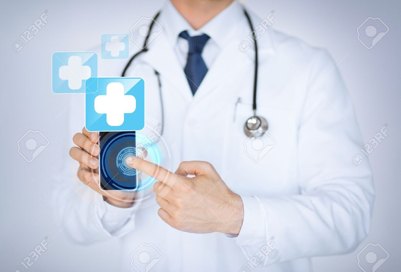 close up of male doctor holding smartphone with medical app Stock Photo - 20558391