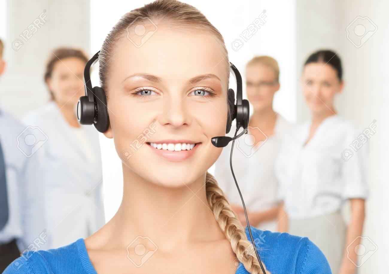 bright picture of friendly female helpline operator Stock Photo - 20613655