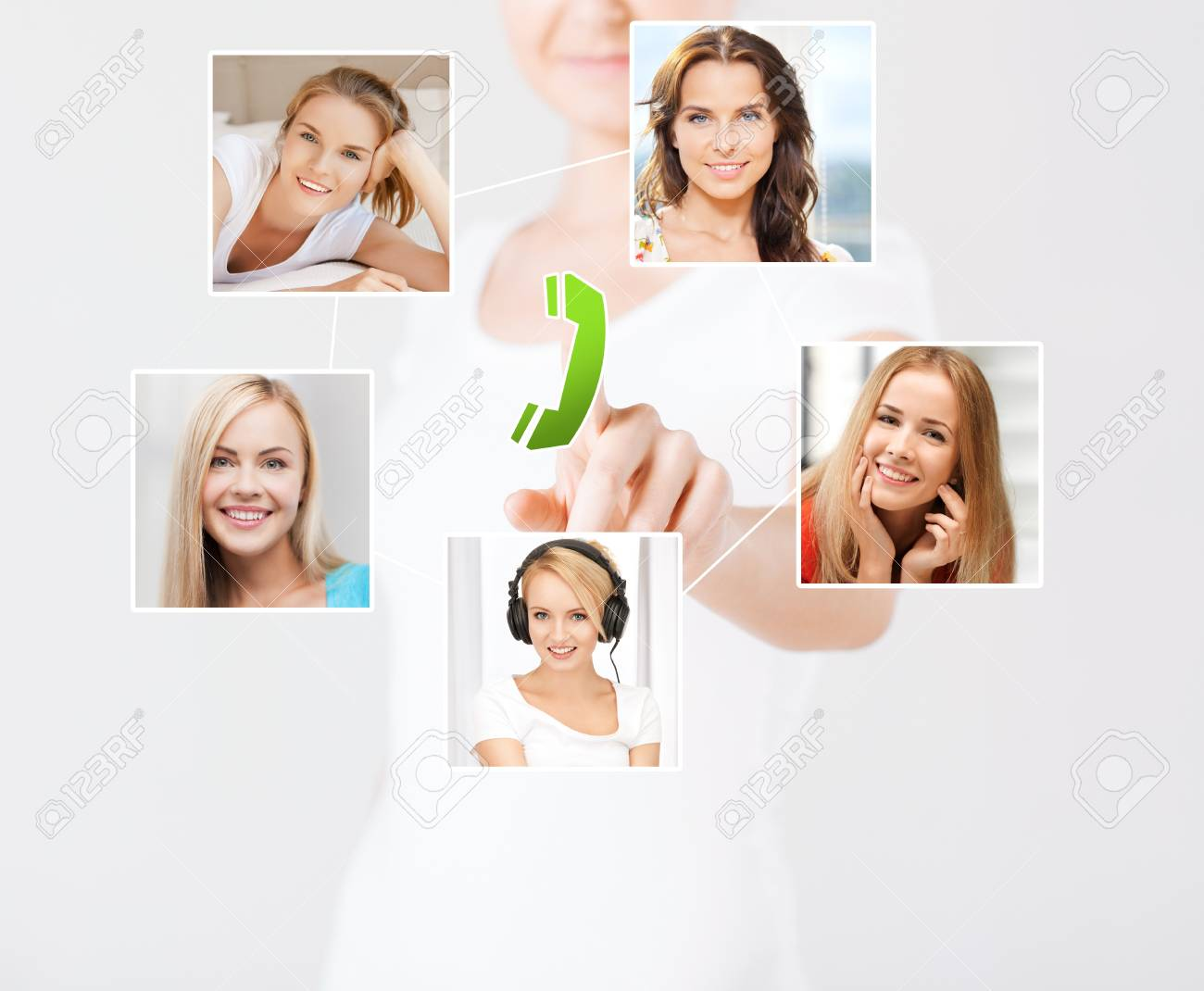 technology and communication - woman pressing button on virtual screen with contact icons Stock Photo - 20772562