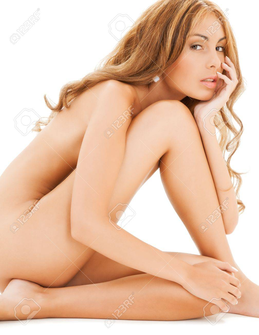 picture of attractive naked woman with long hair sitting on the floor Stock Photo - 20859693