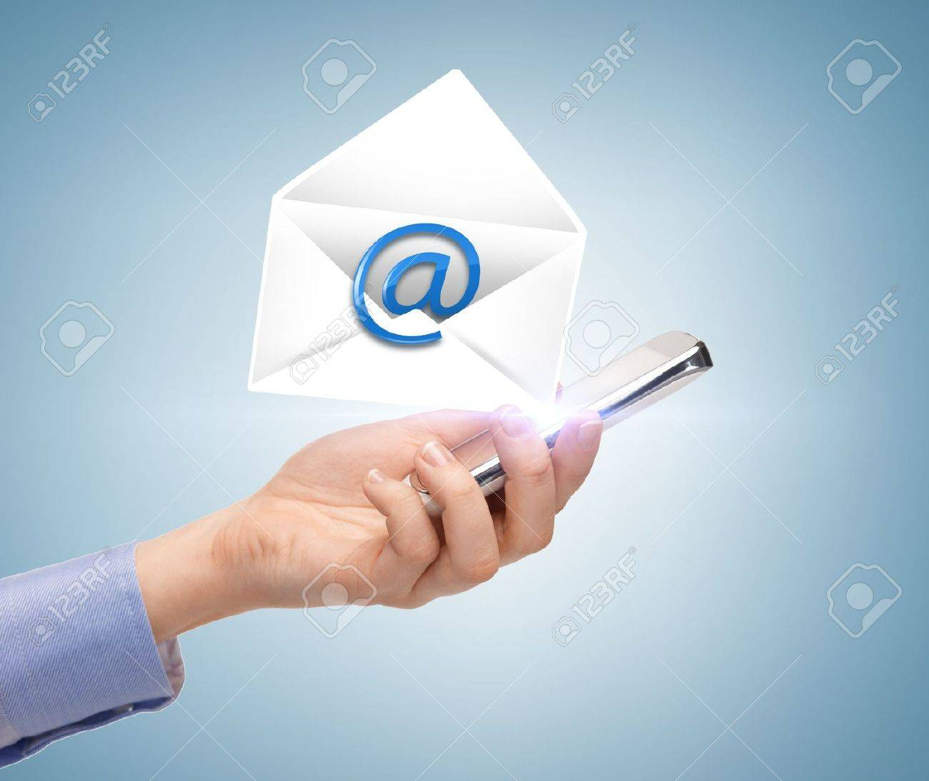 business, communication and future technology - woman holding smartphone with email icon Stock Photo - 21219117