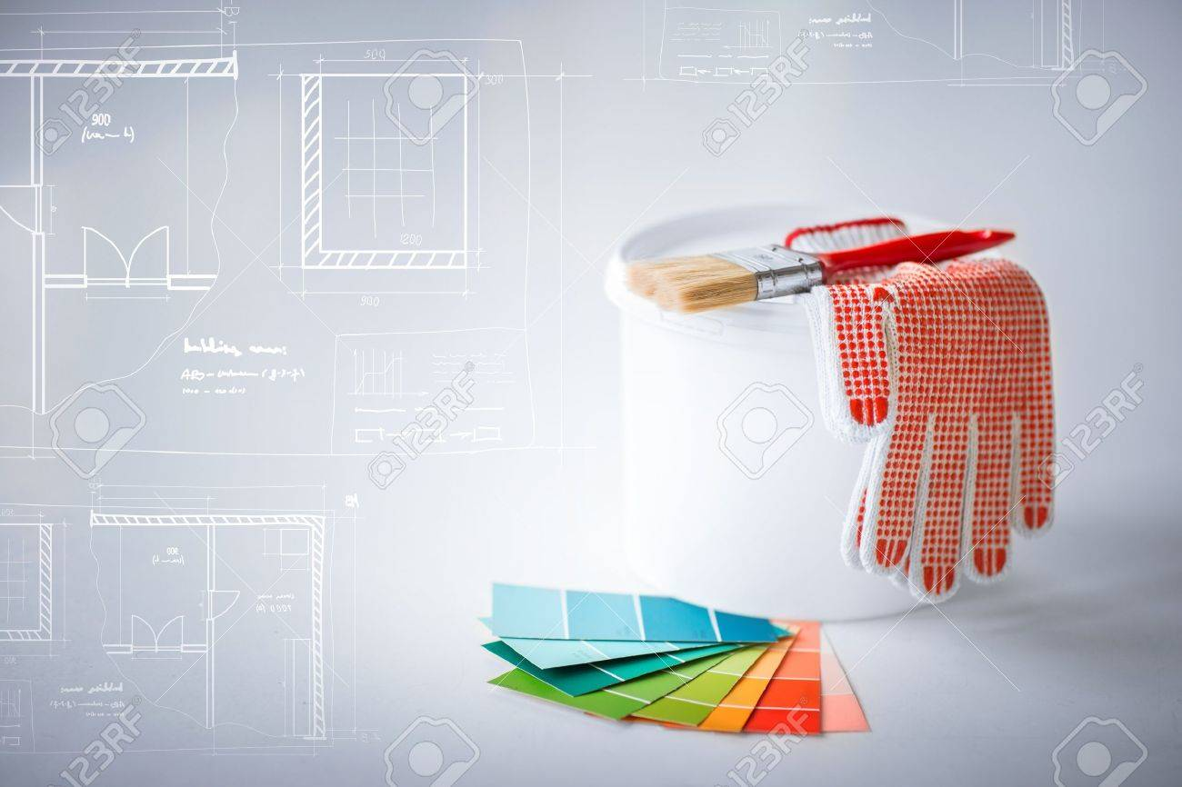 Interior design and home renovation concept paintbrush paint interior design and home renovation concept paintbrush paint pot gloves pantone samplers malvernweather Image collections